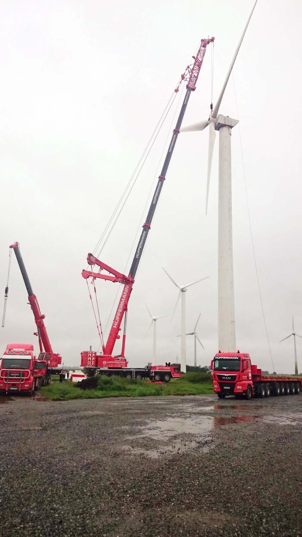 Abbau der Windkraftanlage in Utgast