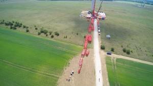 Raupenkran LR 1750, Aufbau, Windpark, Einsatz, Kran mieten