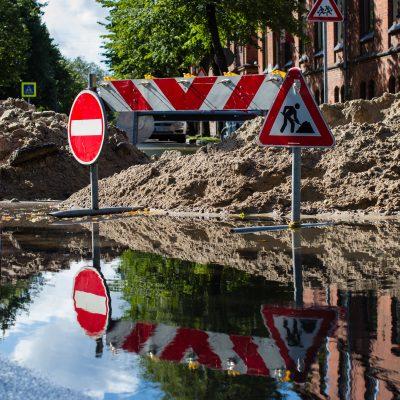 Verkehrssicherung mit Hüffermann-Verkehrs- und Absperrtechnik, Absicherung