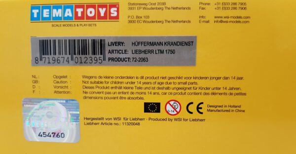 TemaToys - Liebherr LTM 1750- Hüffermann _ 1:87