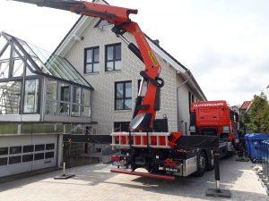 Wintergartenbau -Glasmontage - Ladekranarbeiten mit Hüffermann