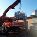 Ladekranarbeiten bei Maschineneinbringung - Montagekolonne Hüffermann