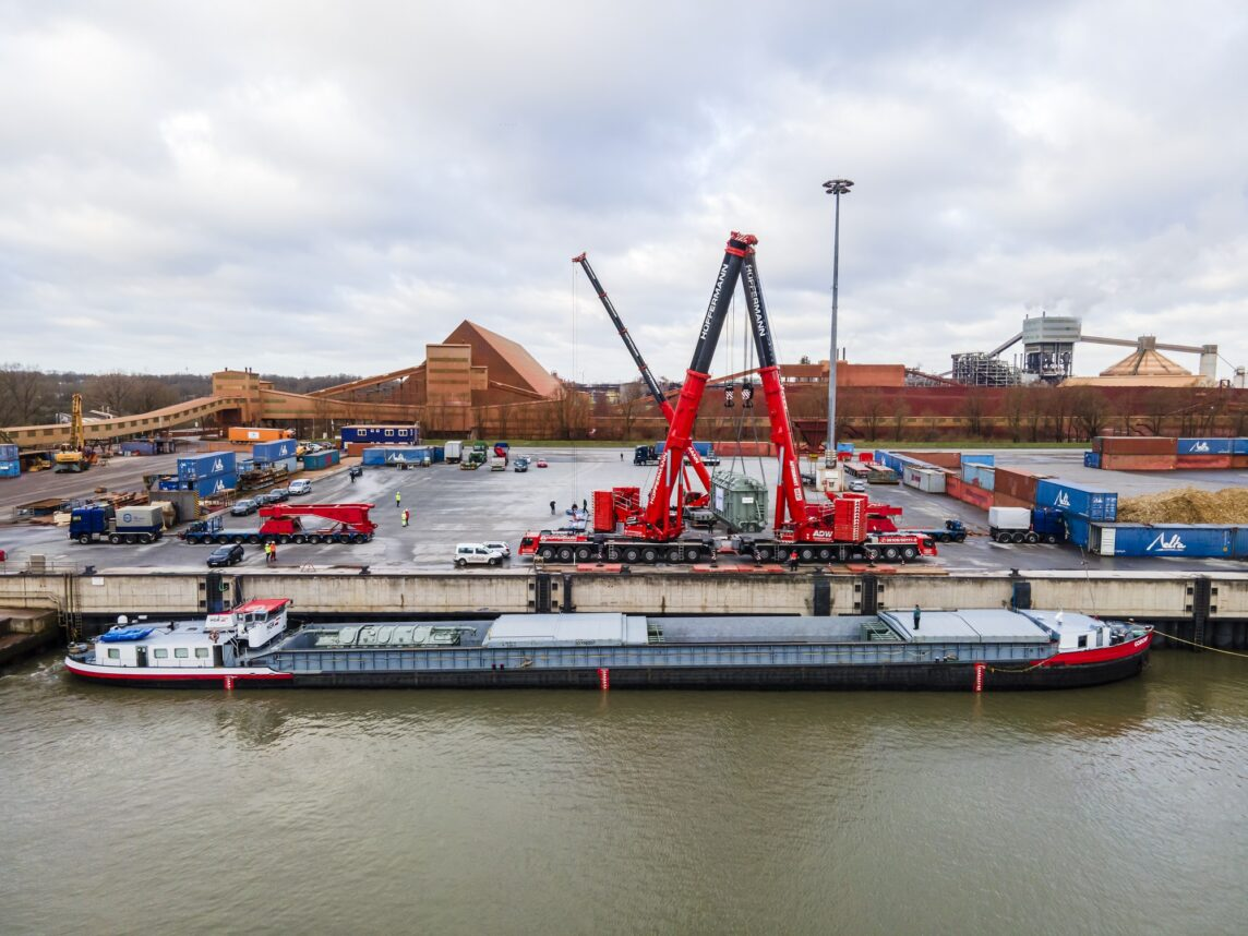 Kranarbeiten Hafen - LTM 1500 Tandemhub Hüffermann Stade